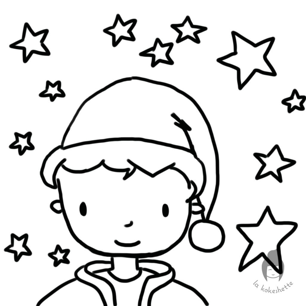 Lutin de Noël à colorier