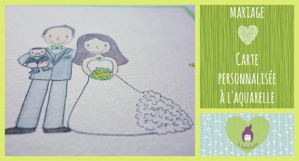 Carte mariage personnalisée aquarelle