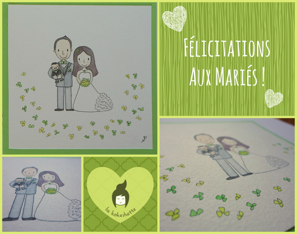 Carte personnalisée aquarelle mariage