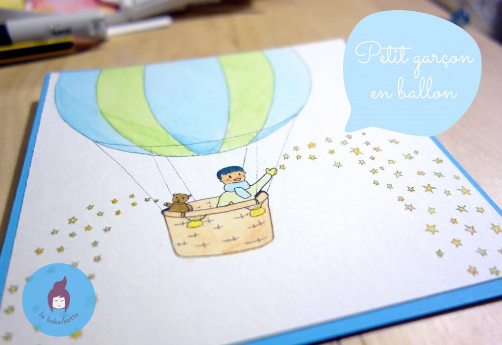 aquarelle naissance montgolfière carte