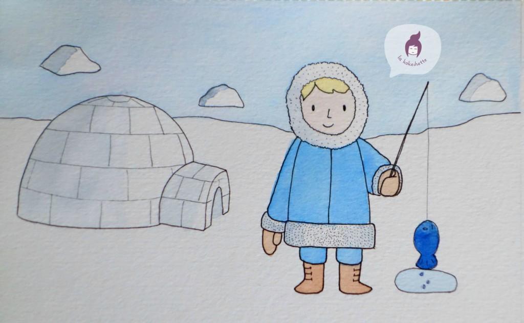 carte esquimau aquarelle